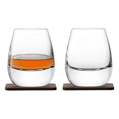 LSA International Whisky Islay DOF Tumbler 8.5 fl oz/H4in Clear & Walnut Coaster x 2