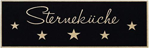 Bavaria Home Style Collection Küchenläufer im Sterneküche Design | Kurzflor Läufer aus 100% Polyamid waschbar | Küchenteppich Weihnachten Schwarz 50x150 cm | Deko Teppich für die Küche Sterne