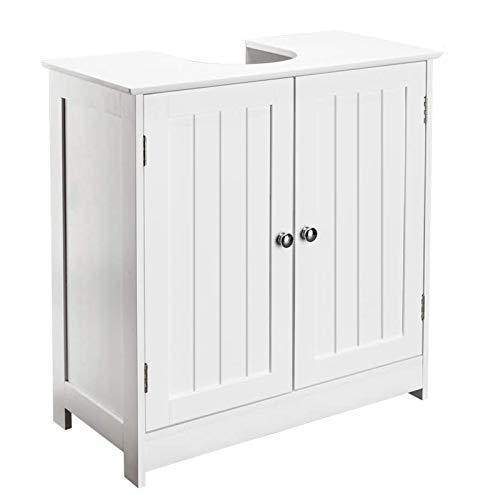 Under-Sink Organizers Pedestal Sink Bathroom Sapce Saving Cabinet w/Two Doors & Adjustable Shelves Vanity Storage Wooden Freestanding Furniture White