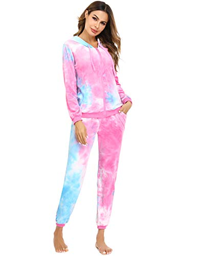 Aibrou Tie Dye Tracksuit Women Velour Sweatsuit Zip Up Hoodie and Sweatpant 2 Pieces Long Sleeve Casual Loungewear Jogging Suit Pajama Sets PinkBlue XS