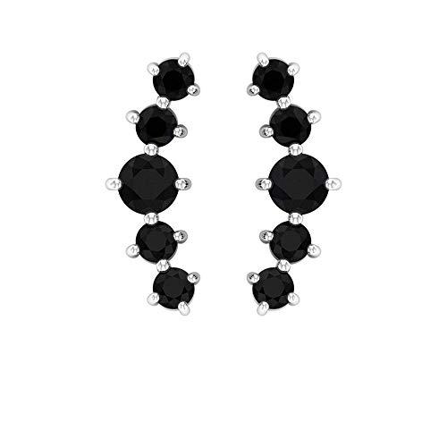 Rosec Jewels 417 oro blanco redonda Black Espinela negra