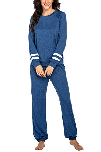 Ekouaer Women's Pajama Set Cotton Pj Long Sleeve Sleepwear with Pockets Soft 2 Piece Lounge Sets Blue L