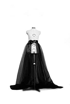 Women Tulle Tutu Long Skirts Wedding Party Cocktail Prom Bandage Mesh Maxi Dress (Black, One Size)
