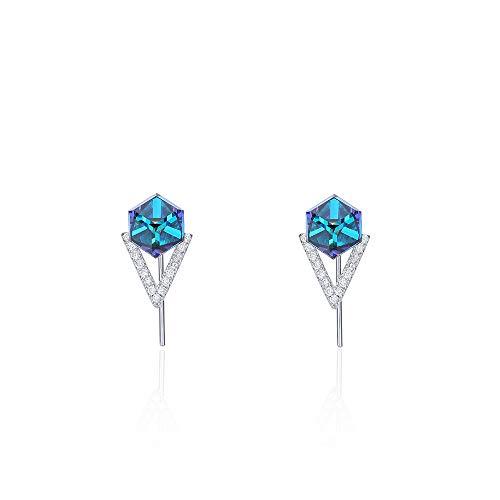 Europese en Amerikaanse mode S925 zuivere zilveren oorbellen vrouwen kristal oor nagel naam temperament met oorbellen