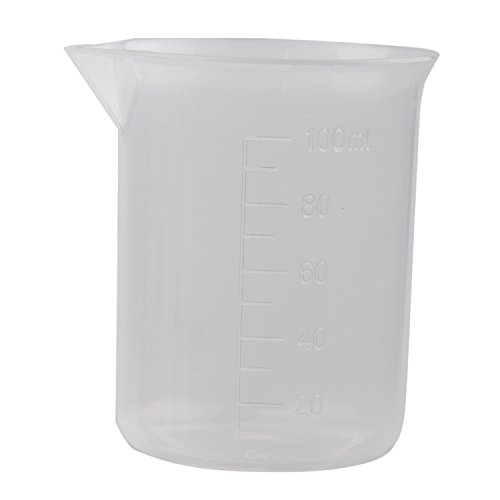 Haude Clear White Plastic 100mL Measuring Cup Beaker for Lab Kitchen