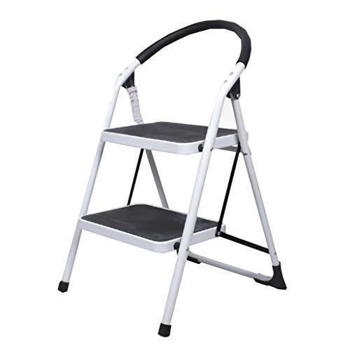 Schritt Hocker, 2-Schritt Hocker, Leiter mit Geländer Innen Zuhause Metall Stabilität und Sicherheit (Color : White)