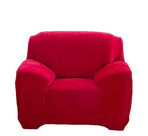 Dicke Sofaüberzüge, 1/2/3/4-Sitz-Überwurf, Sofa Schutzüberzug aus Samt. einfache Passform, Stretch-Material, Couch-/Bettüberwurf, rot, 1 Seater:90-140cm