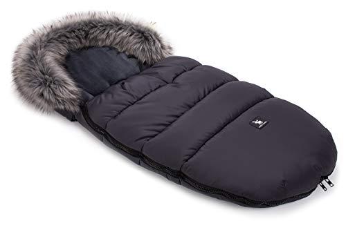 Cottonmoose Footmuff Moose Sacchi termici Sacco Invernale Universale per passeggino e carrozzina morbido pile termico 100 x 50 cm (422 Moose Dark Grey-Grey)