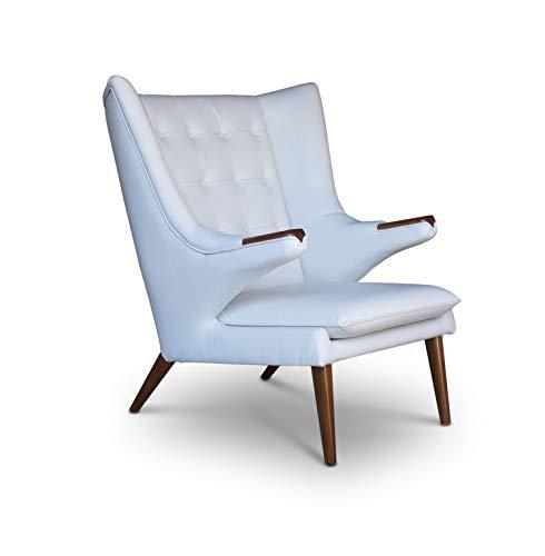 NEUERRAUM Cigar Lounge Ohrensessel Fernsehsessel Armlehnsessel Leder Sessel. Abbildung in Leder Weiß mit Wallnuss Holz.