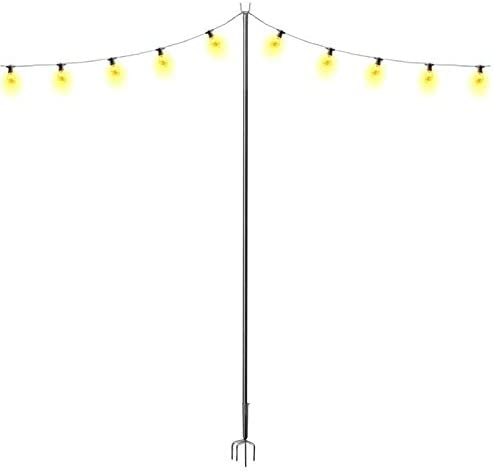 Outdoor Stand Light Pole 9 ft Anti Rust Stand Holder for Hanging Decoration LED Or Solar Bulbs product image