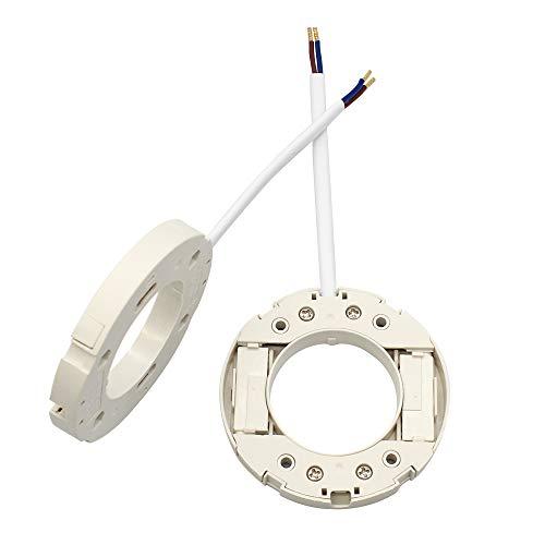 2 Pack GX53 Sockelfassung Fassungshalter für Fassung für LED LFC Lampen mit 10cm Draht und 8 PCS Schrauben, Weiß