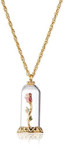 Couture Kingdom Colgante Disney La Bella y la Bestia Rosa eterna - Colgante bañado en Oro/Collar Rosa Bella y Bestia - Producto con Licencia Oficial