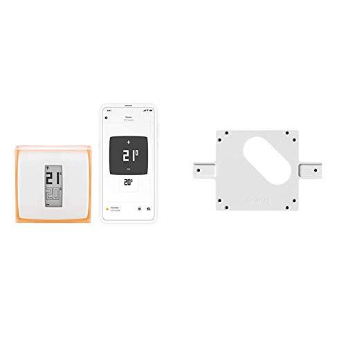 Netatmo Termostato Wifi Intelligente per Caldaia Individuale NTH01-IT-EC + 1 Adattatore Scatola Incasso 3 Posti per il Termostato Intelligente