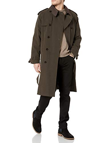chouyatou Men's Slim Notched Collar Single Breasted Cotton Jacket Office Trench Coat (X-Large, Army Green)