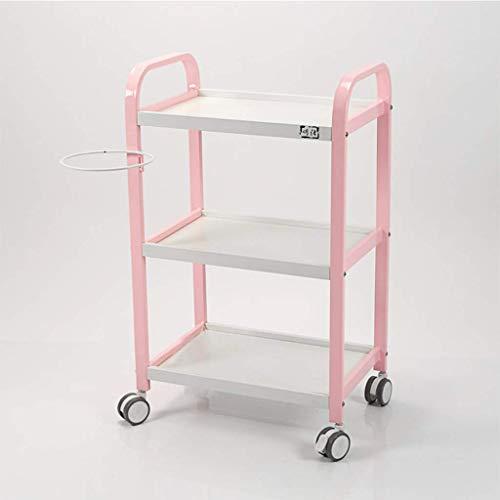 3-stufiger, multifunktionaler, tragbarer, rollender Badezimmerständer für Badezimmer Salon Spa Utility Trolley Cart, 4 abnehmbare Räder - 51 * 33 * 84 cm - Gold/Grau/Pink