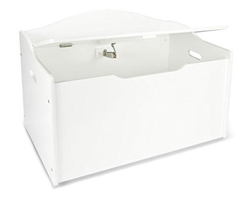 Leomark Contenitore portagiochi XL, scatola panca stoccaggio, mobili per camera da letto, cassapanca per bambini, portaoggetti in Legno, colore BIANCO, dimensioni: 68cm x 42cm x 46cm (LxPxA)