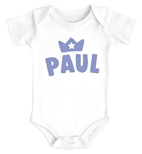 SpecialMe® Baby Body mit Namen personalisiert Krone Junge Mädchen Geschenk Kleinkind Bio-Baumwolle Jungen weiß 3-6 Monate