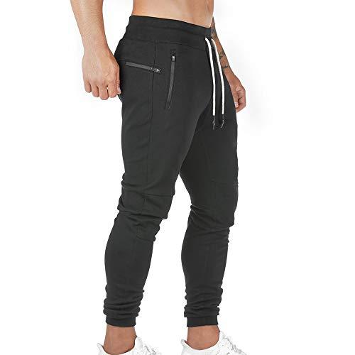 Pantalon de Jogging Homme Pantalon Sport en Coton Taille Elastique Pantalons de Survêtement Poche Disponible Jogger Survêtement Training Pants Pantalon Cargo Casual Activewear Sweatpants (Noir, M)