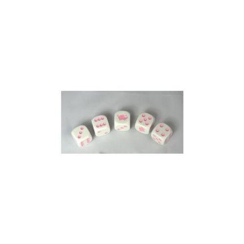 Koplow Games Pig Dice Game White Opaque with Pink Six Sided 16mm (5/8in)