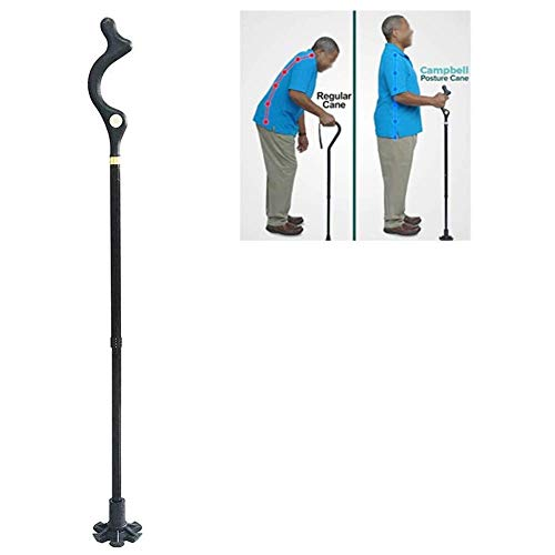 Folding Walking Stick Women Men Foldable Posture Walking Cane Elderly Portable Safety Lightweight Adjustable Height Self-Stand 360° Traction Non Slip Crutch (Color : Black, Size : 127 11 3cm)