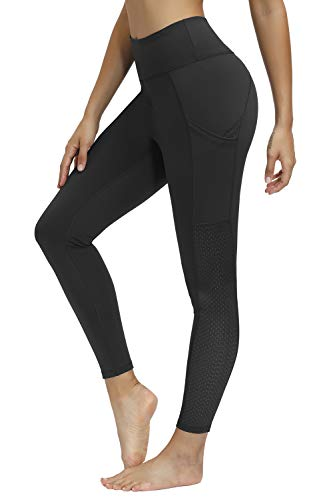Cassiecy Damen Sport Leggings Hohe Taille Yoga Hose Bauchkontrolle Stretch Laufhose Fitnesshose Jogginghose Yoga Leggings mit Taschen(Black,S)