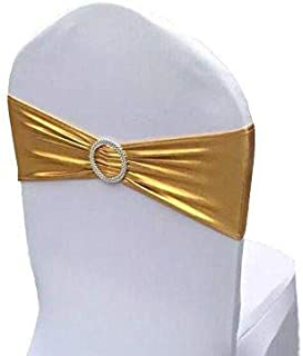 iEventStar Spandex Chair Sash Cover Stretch Band with Buckle Slider Sashes Bow Hotel Wedding Banquet Decoration (50, Metallic Gold)