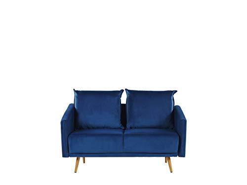 Beliani Sofá 2 plazas de Terciopelo Azul Maura