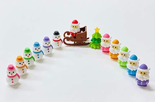 Iwako Pencil Eraser Gift for Kids Christmas Back to School Gift Made in Japan (Mix 10pcs) (Santa Claus & Snowman Mix 10pcs)