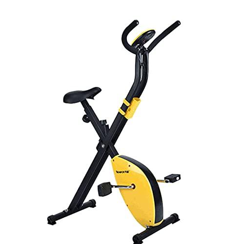 Bicicleta estática para pedDale bicicleta con equitación de fitness y carrera de peso, silenciosa, bicicleta de ejercicio, altura regulable con resistencia a la velocidad (amarillo)