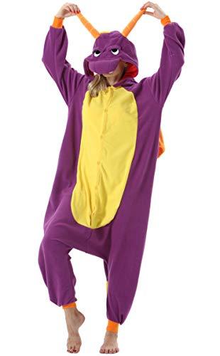 Damen Jumpsuit Onesie Tier Fasching Halloween Kostüm Lounge Sleepsuit Herren Cosplay Overall Pyjama Schlafanzug Erwachsene Unisex Lila Drache for Höhe 140-187CM