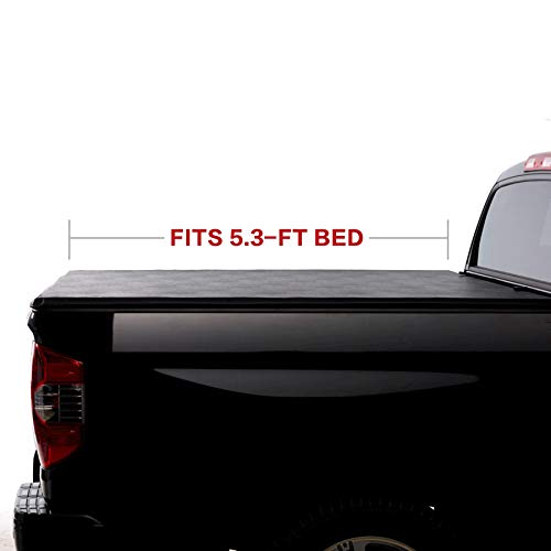 North Mountain Soft Vinyl Roll-up Tonneau Cover, Fit 00-04 Dodge Dakota Pickup 5.3ft Fleetside Bed, Clamp On No Drill Top Mount Assembly w/Rails+Mounting Hardware