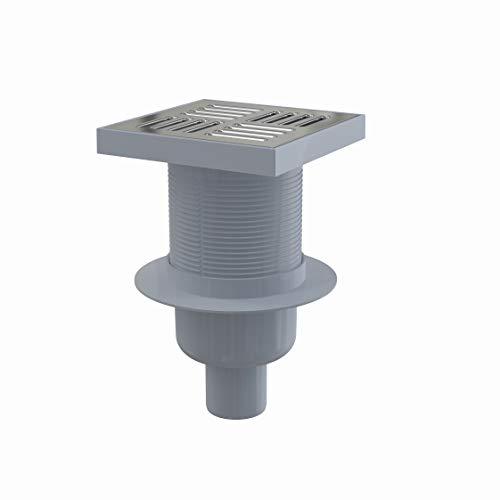 Siphon de sol avec grille en inox – 150x150/50 mm - sortie verticale
