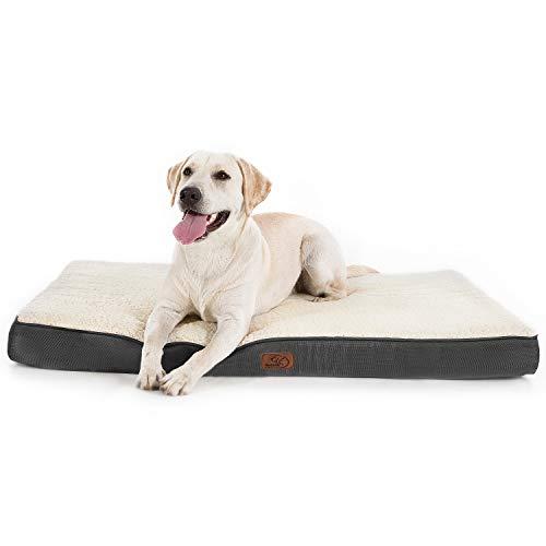 Bedsure Extra Large Dog Bed for XL Jumbo Large Dogs Cats Up to 100lbs - Orthopedic Egg-Crate Foam with Removable Washable Cover - Water-Resistant Pet Mat for Crate, Grey