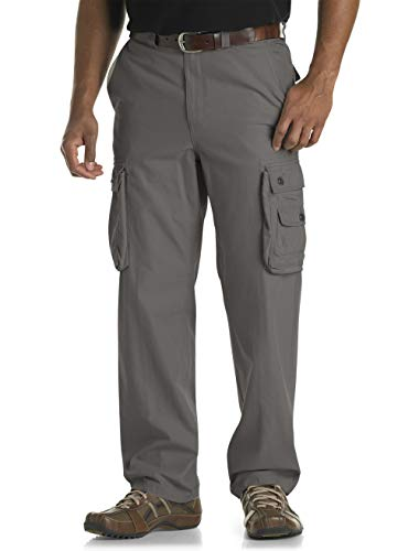 True Nation by DXL Big and Tall Bellowed Cargo Pants, Dark Grey, 38W X 32L
