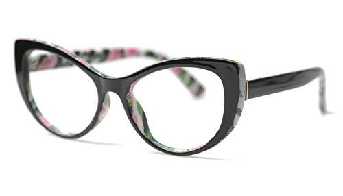 SOOLALA Womens Large Frame CatEye Eyeglasses Frame Reading Glasses, Floral, 1.0D