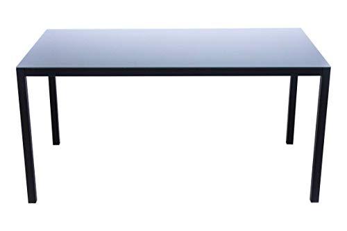 AVANTI TRENDSTORE - Sedico - Tavolo da Giardino, in Metallo Nero con Superficie in Vetro Grigio. Disponibile in 2 Diverse Misure. (Lap 150x72x90 cm)