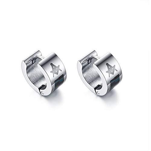 XTT Earrings Hoops Studs Cute Masonic Earrings for Men Stainless Steel Jewelry