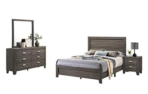 Best Quality Furniture 4PC Queen Bed + Dresser + Mirror + Nightstand, Gray