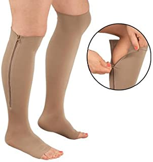 Zippered Medical Compression Socks with Open Toe - Best Leg Support Stockings for Men and Women (XL-Calf 12-14 inches, Beige)