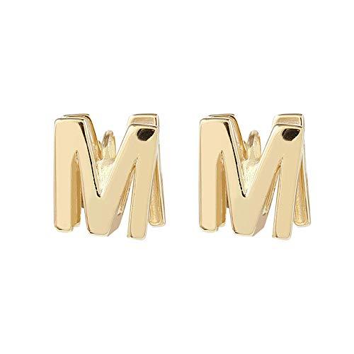 Letter M oorbellen, retro oorbellen met temperament, persoonlijkheid koude oorbellen