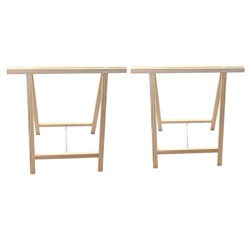 Acan Reggo Pack 2 Caballetes de madera plegables para carpintería, bricolaje, montar tableros, cortar madera, 2 tamaños a elegir (2, 65 x 75 cm)