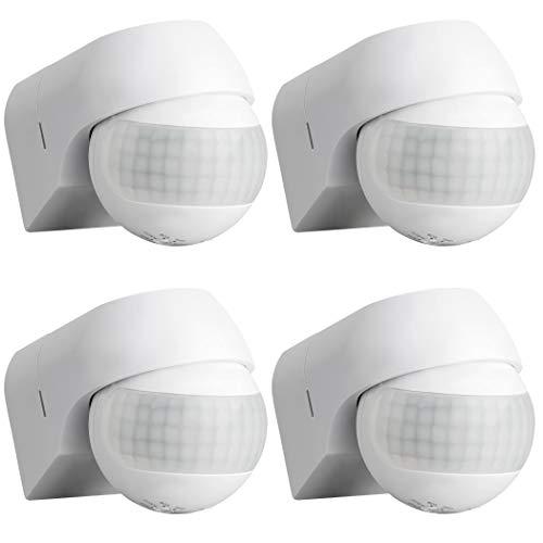 SEBSON® Bewegungsmelder Aussen IP44 Aufputz, 4er Set, Wand Montage, programmierbar, IR Sensor, Reichweite 12m / 180°, LED geeignet, schwenkbar