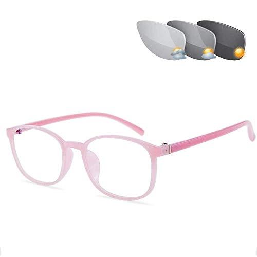 CAOXN Gafas De Lectura Multifocales Progresivas Inteligentes, Gafas Fotocromáticas De Transición Ultraligera, Gafas De Dioptrías Hiperópicas,Rosado,+3.00