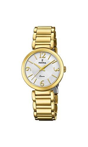 Festina Damen Analog Quarz Uhr mit Edelstahl beschichtet Armband F20214/1