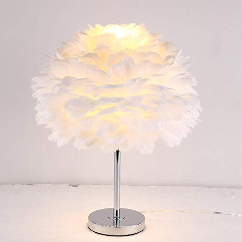 Energiespar-Leuchte,Tischlampe Led_ Feder Schlafzimmer Nachttischlampe Led Wei Romantisch @ 40 Cm Weie Abdeckung + Knopfschalter