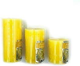شموع معطرة اسطوانية الشكل مؤلفة من 3 قطع بأحجام مختلفة برائحة الزهر الاصفر