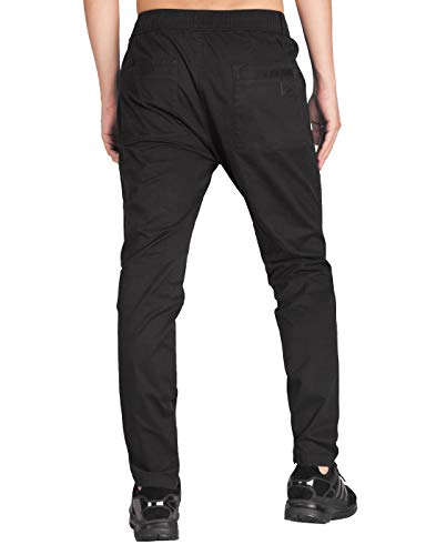 ITALY MORN Men's Chino Cargo Pants Tapered Fit Joggers with Zipped Cuffs L Black