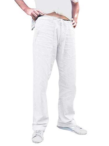 Tomwell Lin Pantalon Hommes Été Pantalon de Grande Taille en Lin Ample et Confortable Respirant Pantalon de Travail A Blanc XXXXX-Large