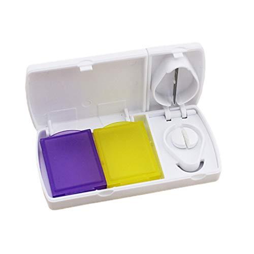 SUPVOX pastillero con cortador de pastillas portátil multifuncional caja de almacenamiento de medicamentos
