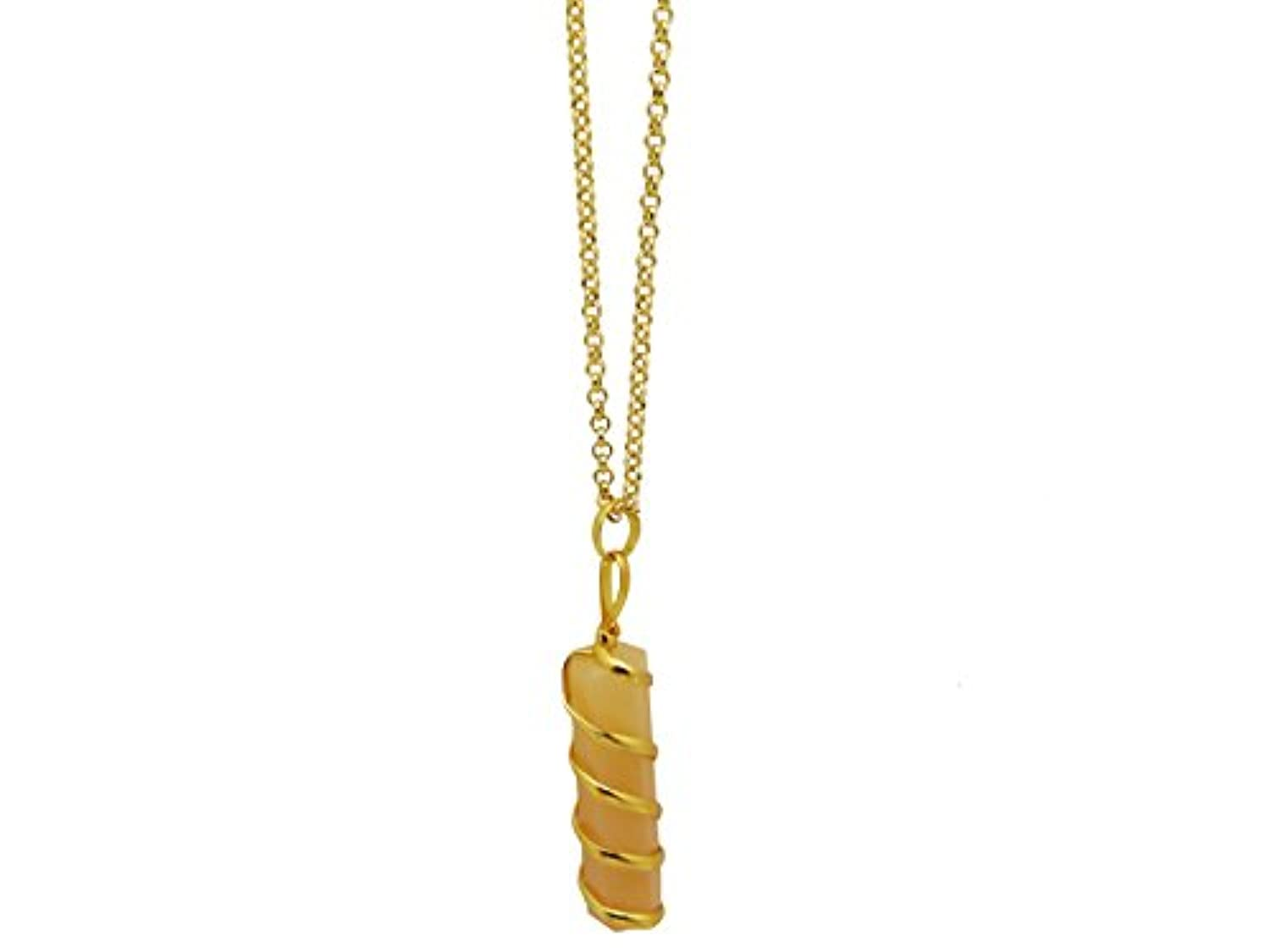 Crystal Point Pendants Beads Crystal Quartz Gold Wrapped Stone Charm for Necklace Jewelry Making - Yellow Aventurine